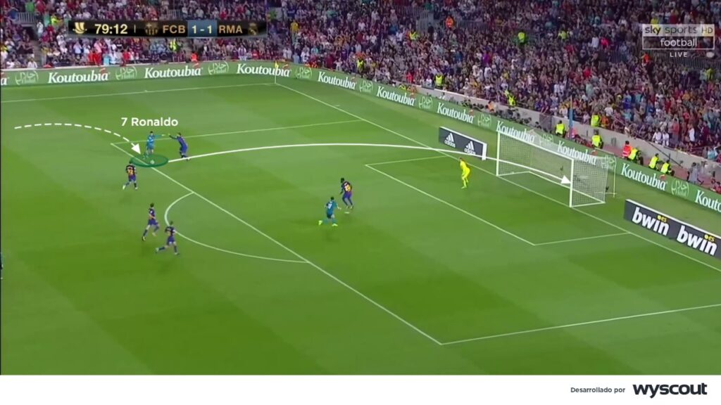 Cristiano Ronaldo, perfilado en banda izquierda, busca el disparo cruzado.